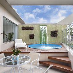 Backyard Pool Designs, Small Backyard Pools, Small Pools, Swimming Pool House, Swimming Pool Designs, Swimming Pools, Rooftop Terrace Design, Rooftop Patio, Simple Pool