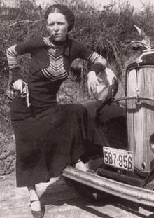 Bonnie Parker. My mom got to see their car after they had been killed.