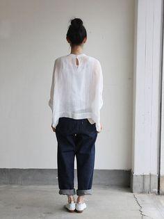 Big slip on blouse short/YAECA 11-11Wデニム 3