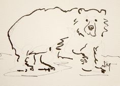 by Nora MacPhail - Artist, WatercoloursbyNora on Etsy, micron, pen, ink, line, contour, bear, animal, Toronto Watercolour Society, illustration, drawing
