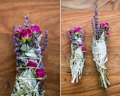 FLORAL + SAGE SMUDGE STICKS  SUPPLIES: white sage,cedar, lavender, roses or any other herb or flower that dries well. cotton culinary twine DIRECTIONS: The instructions are pretty basic here: Bundle together your herbs and flowers in a pleasing way. Wrap tightly with cotton twine and wait til dry.  Or if you're working with dried ingredients already, disassemble an existing sage smudge stick (look for a high-quality one with large leaves still in tact, not one that looks crumbly already).