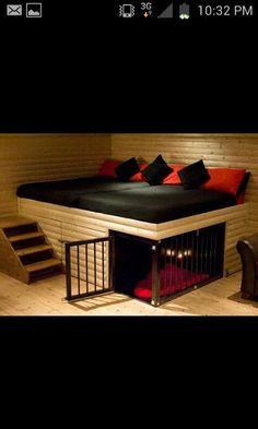 *** Dog kennel under the bed, good space saving idea!