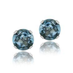 Glitzy Rocks Sterling Silver 2 1/10ct TGW London Topaz 6-mm Stud Earrings