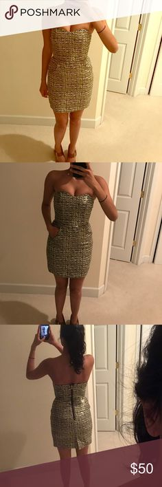 🔥HOT Zara metallic dress size 0🔥 Perfect for clubbing, evening, NYE. Even has front pockets...how cute! Zara Dresses Strapless