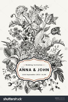 Vertical Wedding Invitation. Vintage Card With Garden Flowers. Black And White Vector With A Gold Frame. - 223681285 : Shutterstock