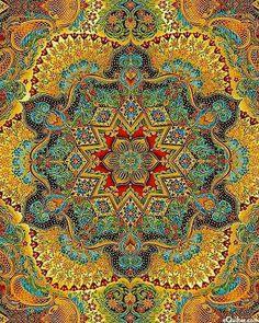/ mandala / opulent florentine inspired fabric / italian garden / by peggy toole for robert kaufman fabrics / Mandala Art, Mandala Design, Art Fractal, Motif Oriental, Psy Art, Vintage Diy, Sacred Art, Arabesque, Islamic Art