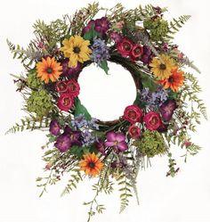 Wreaths For Door - Razzle Dazzle Mixed Wild Flower Door Wreath, $74.99 (http://www.wreathsfordoor.com/razzle-dazzle-mixed-wild-flower-door-wreath/)