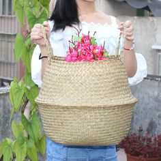 Folding Flower Pot Straw Storage Baskets Vase Hanging Storage Containers Garden Planter Organization