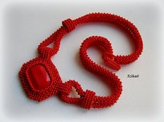 Beaded red seed bead pendant necklace Right Angle Weave by Szikati