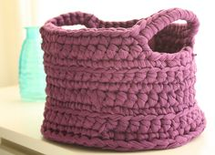 Chunky crocheted basket from recycled T-shirt yarn