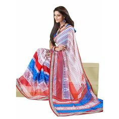 ATTRACTIVE #TRADITIONAL #PRINTED FAUX #GEORGETTE #SAREE only at Rs.1,151 #ethnic