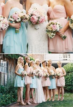 #Pastel Bridesmaids ... Wedding ideas for brides, grooms,