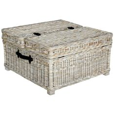 Trunk-style wicker coffee table with a whitewashed finish and interior storage.  Product: Coffee table    Constructi...