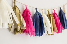 Tassel Garland || Hot Pink, Navy, Gold, and Cream || Party Decor Copy on Etsy, $16.00