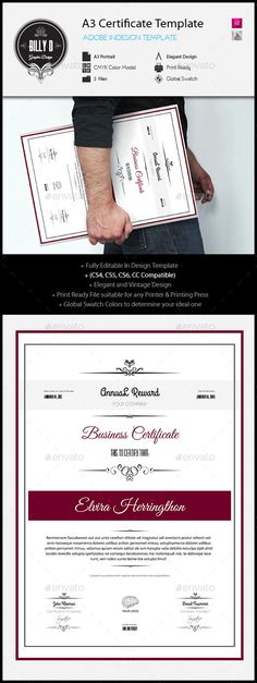 A3 Certificate Template — InDesign INDD #certificate template #indesign certificate template • Available here → https://graphicriver.net/item/a3-certificate-template/10869774?ref=pxcr