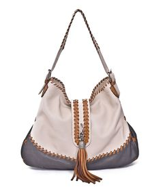 Look at this Carla Mancini Off-White Tassel Leather Tote on #zulily today!