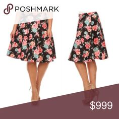 "(Plus) Floral midi skirt Black skirt. Elastic waistband. 95% polyester/ 5% spandex. Very soft! Not sheer. W = waistband measurement (unstretched- stretched comfortably).  XL: L: 24"" W: 32-40"" 2x: L: 25"" W: 34-42"" 3x: L: 26"" W: 36-44"" ⭐️This item is brand new from manufacturer without tags.  🚫NO TRADES 💲Price is firm unless bundled 💰Ask about bundle discounts Availability: XL•2x•3x • 2•2•2 Skirts Midi"