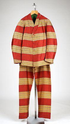 Looks like it belonged to someone in jail!!! #Man's striped silk lounge suit, American, ca. 1860. Plaid Dress #2dayslook #new #Plaid fashion www.2dayslook.com