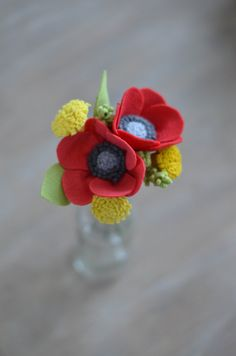 Poppy & Dandelion Felt Flower Bouquet / by LeaphBoutique on Etsy