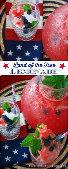 Land of the Free Lemonade for your Independence Day Celebration! Mix up a batch of this refreshing combination of pureed watermelon and  lemonade, garnished with watermelon stars and blueberries! Add citrus flavored vodka for an adult version and cocktail. #patriotic #july4th