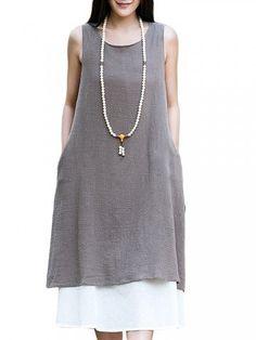 Cheap Women Mori Girl Loose Sleeveless Solid O-neck Cotton Linen Sundress - NewChic