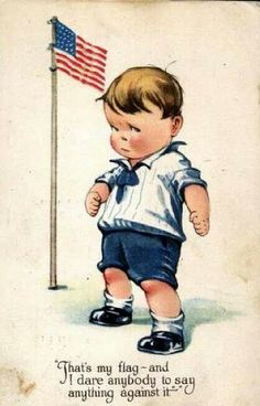 Charles Twelvetrees - Touch Little Boy Ready to Defend American Flag Postcard