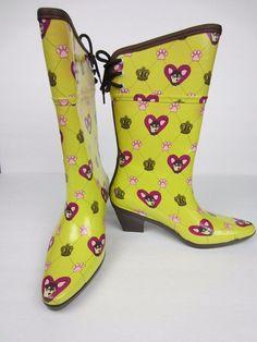 #DAV #Womens #RainBoots #size6  #Flirt #Chihuahua #Dog #Lemon #Wellies #Cesar #Millan #Dav #Rainboots#Hearts