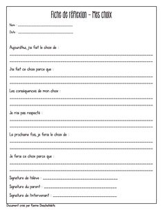 Gestion - Fiche de réflexion Mes choix 3e cycle French Classroom, School Classroom, Organization And Management, Classroom Management, Teacher Tools, My Teacher, Job 3, French Education, Beginning Of Year