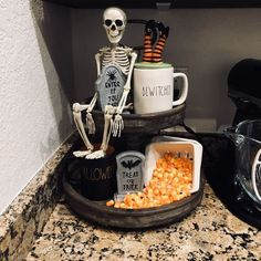 Over 55 Ways To Decorate Your Tiered Tray For Halloween - . - Over 55 Ways to Decorate Your Tiered Tray for Halloween – Seasonal displays in a tray – - Halloween Kitchen Decor, Spooky Halloween Decorations, Halloween Displays, Halloween Treats, Fall Halloween, Halloween Party, Halloween Halloween, Kitchen Decorations, Halloween Decorating Ideas
