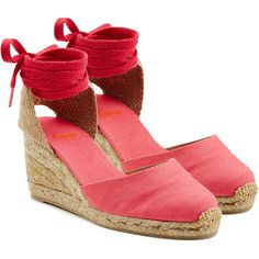 Castañer Espadrille Wedges ($87) ❤ liked on Polyvore featuring shoes, sandals, pink, espadrilles shoes, pink wedge shoes, pink espadrilles, special occasion shoes and espadrille sandals