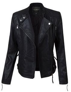 LE3NO Womens Faux Leather Fully Lined Long Sleeve Moto Biker Jacket