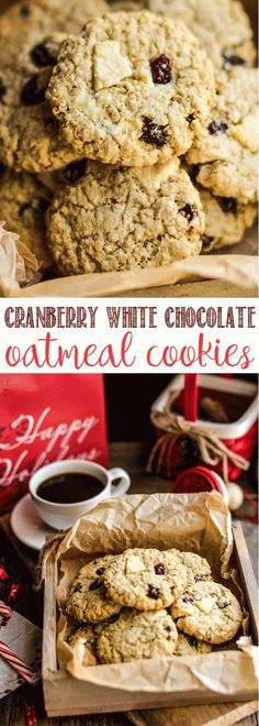 Cranberry White Chocolate Oatmeal Cookies these will be your favorite Christmas Cookie ever #cookie #christmas #baking