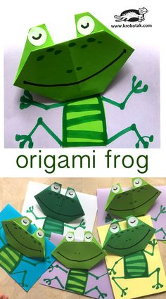 children activities, more than 2000 coloring pages Frog Crafts, Crafts To Do, Crafts For Kids, Toddler Crafts, Paper Crafts Origami, Origami Art, Kids Origami, Papier Kind, Animal Crafts