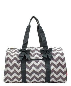 """Quilted Chevron Print Large 21"""" Duffle/Travel Bag Monogram Ready $34"""