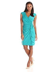 Kasper Women's Cap Sleeve V Neck Side Ruffle Dress, Moonlight Teal, 14 Kasper http://www.amazon.com/dp/B016WWUBNK/ref=cm_sw_r_pi_dp_DbUPwb0WWRR4A