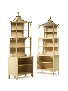 A pair of Regency style cream and green painted pagoda-form standing bookcases from the estate of Brooke Astor - Sotheby's Asian Furniture, Chinese Furniture, Antique Furniture, Painted Furniture, Furniture Design, Oriental Furniture, Custom Furniture, Bookcase Shelves, Shelving