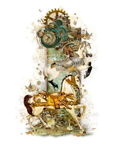 """Steampunk Animals - Carousel Horses"" by girlinthebigbox ❤ liked on Polyvore featuring art, steampunk, Horse, carousel and mechanical"