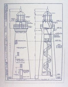 Point Isabel Lighthouse Blueprint by BlueprintPlace on Etsy, $14.99