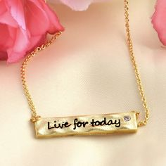 Inspirational Live For Today Brass Necklace (Small Petite Minimalist Geometric Genuine Hammered Gold Plated Brass Jewelry, BN361-G)