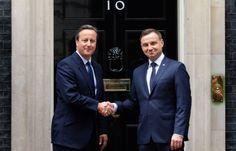 Polski prezydent Andrzej Duda i premier Wielkiej Brytanii David Cameron podczas spotkania w Londynie