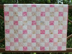 Baby Girl Quilt Patchwork Crib Quilt Pink by RedNeedleQuilts, $98.00