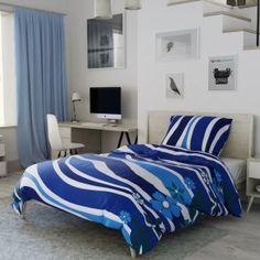 Flanelové povlečení modré tyrkysové vlny květiny vlnky květy moře Comforters, Blanket, Bed, Furniture, Home Decor, Creature Comforts, Quilts, Decoration Home, Stream Bed