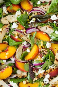 Peach Salad with Grilled Basil Chicken and White Balsamic-Honey Vinaigrette - Cooking Classy Peach Chicken, Basil Chicken, Marinated Chicken, Chicken Salad, Grilled Chicken, Balsamic Chicken, Grilled Peach Salad, Grilled Peaches, Summer Salad Recipes