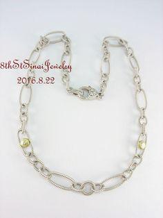 "JR Two Judith Ripka Sterling 18K Gold Diamond Station 18"" Chain Necklace…"