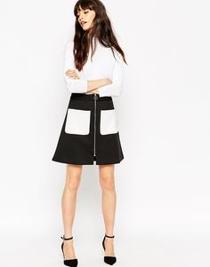 Image 1 ofASOS Bonded A-Line Skirt with Contrast Pockets