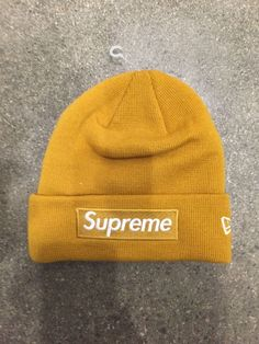 fb26ce25802 SUPREME New Era Box Logo Beanie Mustard  fashion  clothing  shoes   accessories