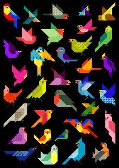 various origami bird print I Like Birds, Bird Quilt, Animal Quilts, Pixel, Minimalist Art, Bird Art, Colorful Birds, Graphic Illustration, Vector Illustrations