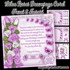 Lilac Roses Decoupage Card Front - £1.00 : Instant Card Making Downloads