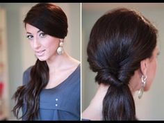 Simple Looped Side Ponytail with a twist. Indian Party Hairstyles, Party Hairstyles For Long Hair, Evening Hairstyles, Pretty Hairstyles, Easy Hairstyles, Wedding Hairstyles, Side Ponytail Hairstyles, Holiday Hairstyles, Great Hair