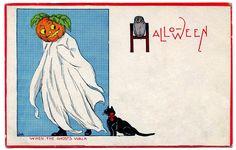 Vintage Halloween Clip Art - Pumpkin Head Ghost - The Graphics Fairy